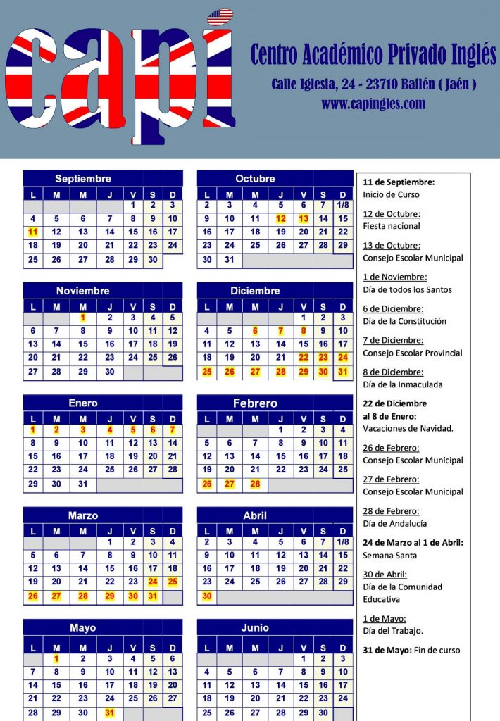 Calendario, dias de clase